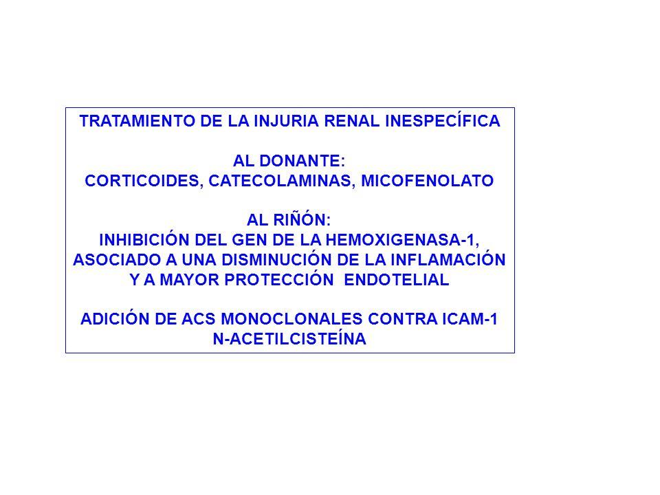 TRATAMIENTO DE LA INJURIA RENAL INESPECÍFICA AL DONANTE: