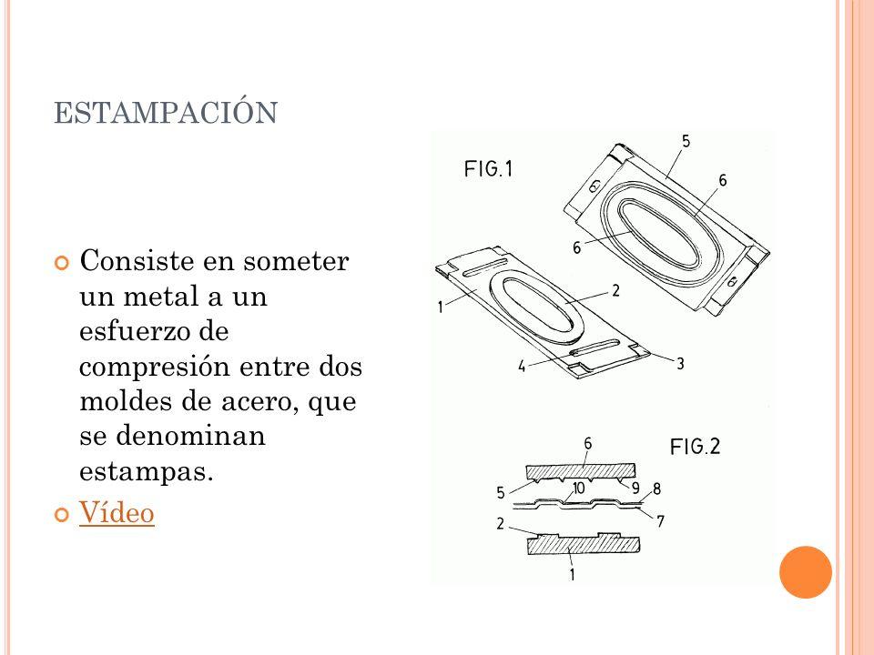 estampación Consiste en someter un metal a un esfuerzo de compresión entre dos moldes de acero, que se denominan estampas.