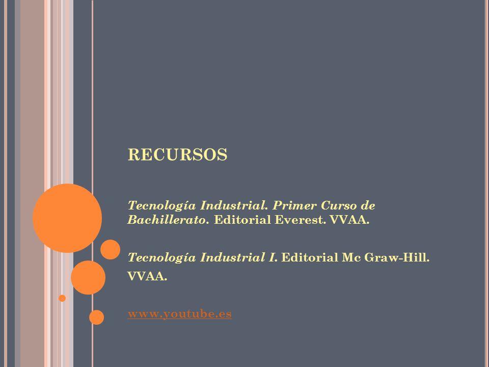 recursos Tecnología Industrial. Primer Curso de Bachillerato. Editorial Everest. VVAA. Tecnología Industrial I. Editorial Mc Graw-Hill.