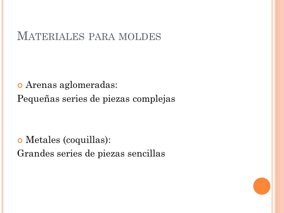 Materiales para moldes