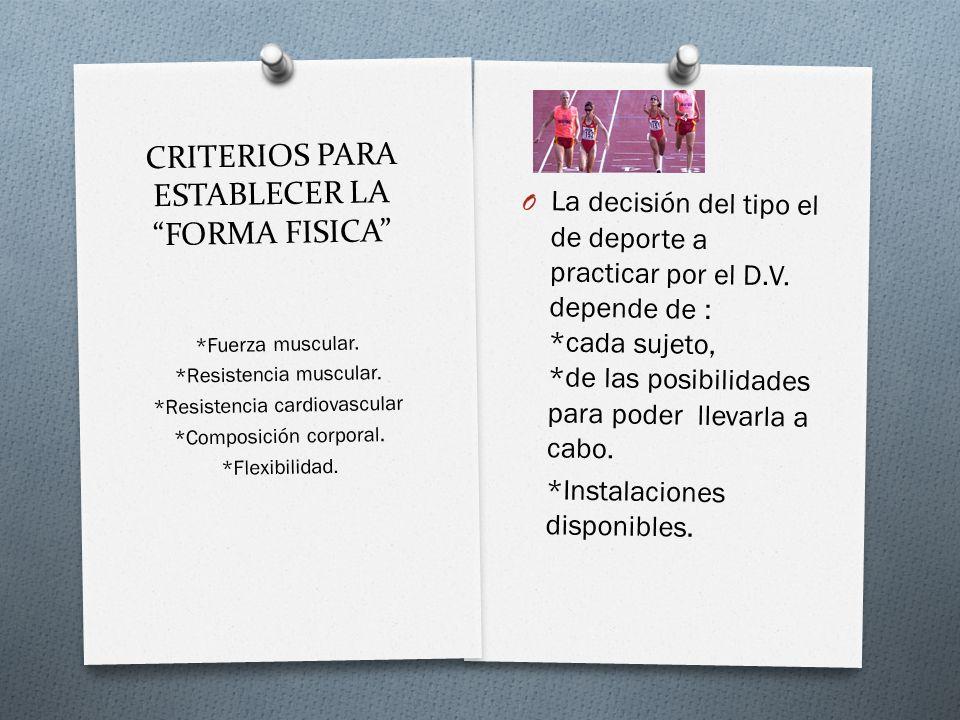 CRITERIOS PARA ESTABLECER LA FORMA FISICA