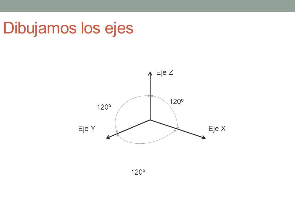 Dibujamos los ejes Eje Z 120º 120º Eje Y Eje X 120º