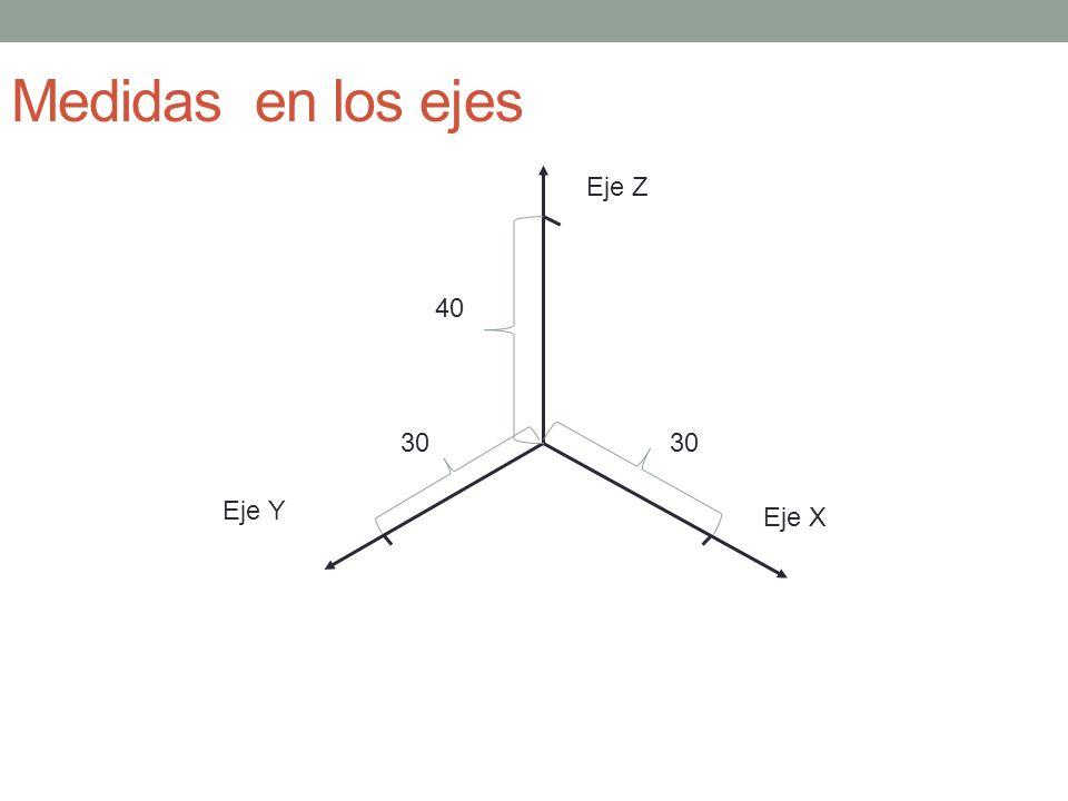 Medidas en los ejes Eje Z 40 30 30 Eje Y Eje X