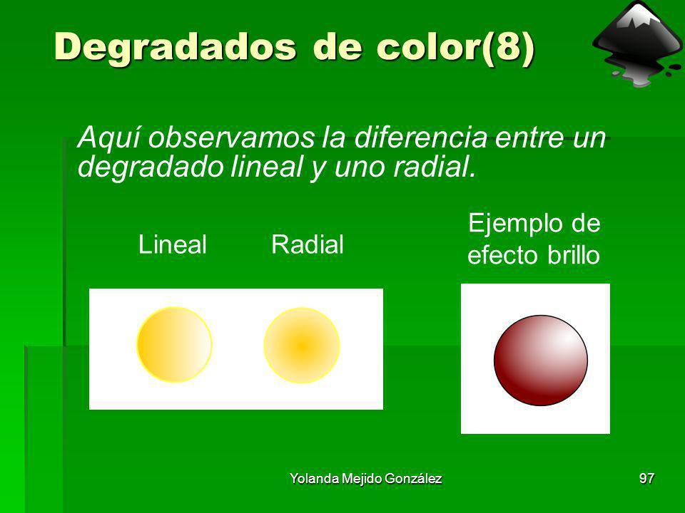 Degradados de color(8) Aquí observamos la diferencia entre un degradado lineal y uno radial. Ejemplo de efecto brillo.