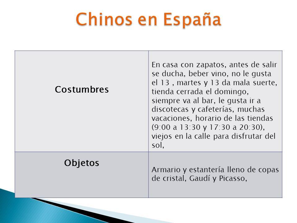 Chinos en España Costumbres Objetos