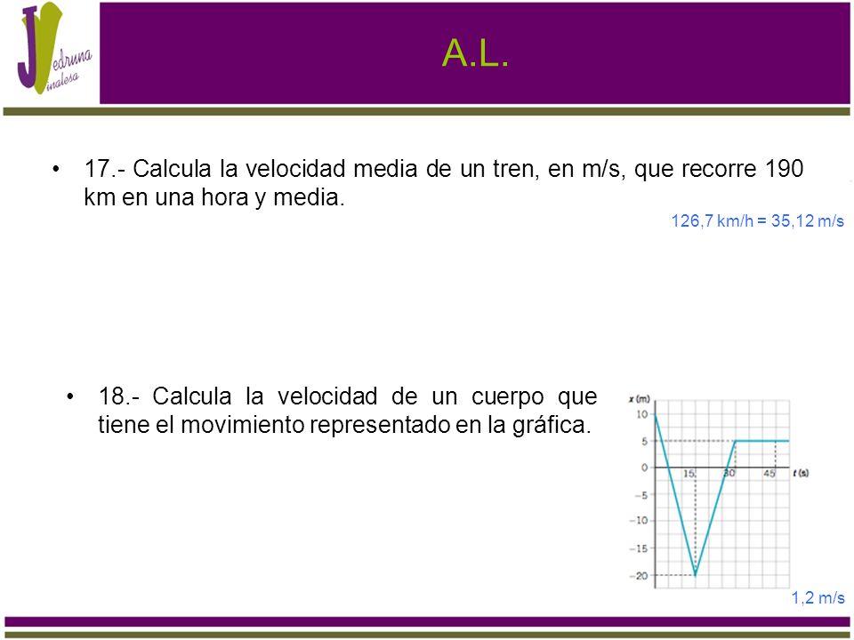 A.L. 17.- Calcula la velocidad media de un tren, en m/s, que recorre 190 km en una hora y media. 126,7 km/h = 35,12 m/s.