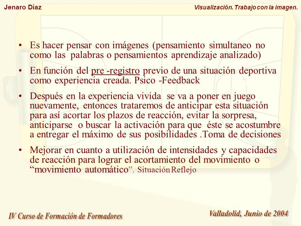 Es hacer pensar con imágenes (pensamiento simultaneo no como las palabras o pensamientos aprendizaje analizado)