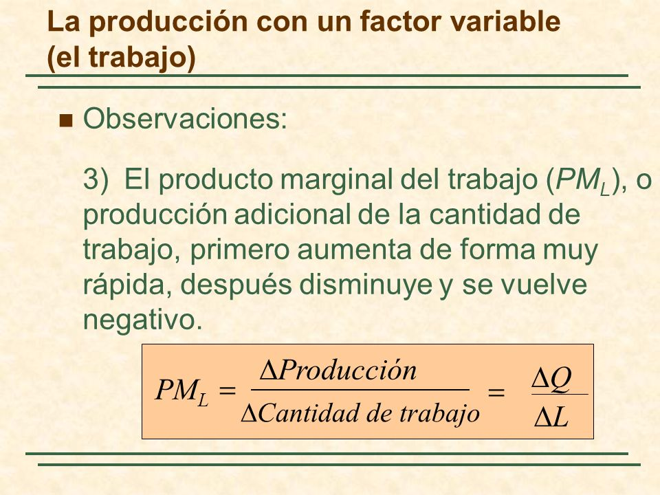 La producción con un factor variable (el trabajo)