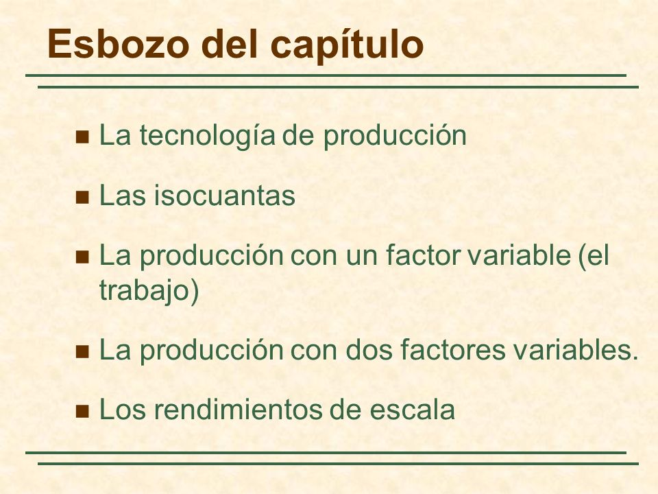 Esbozo del capítulo La tecnología de producción Las isocuantas