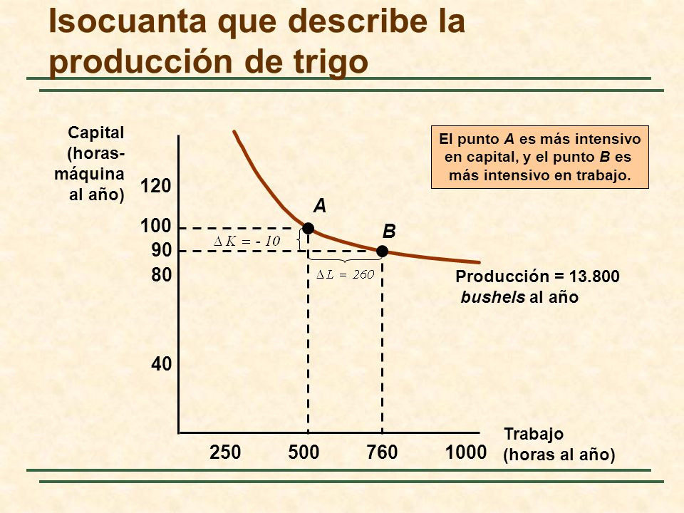 Isocuanta que describe la producción de trigo