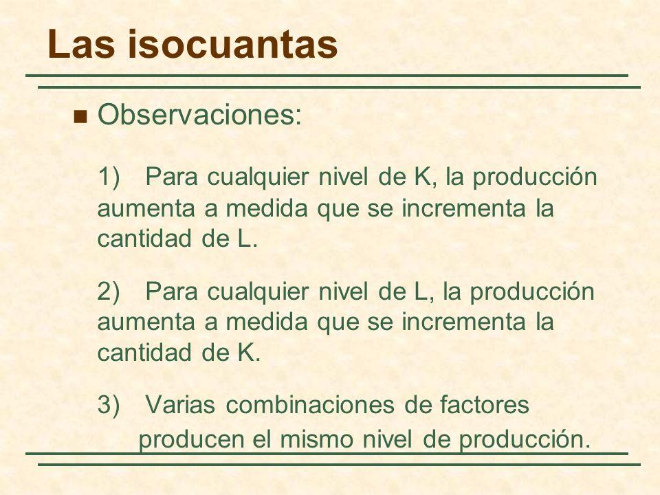 Las isocuantas Observaciones: