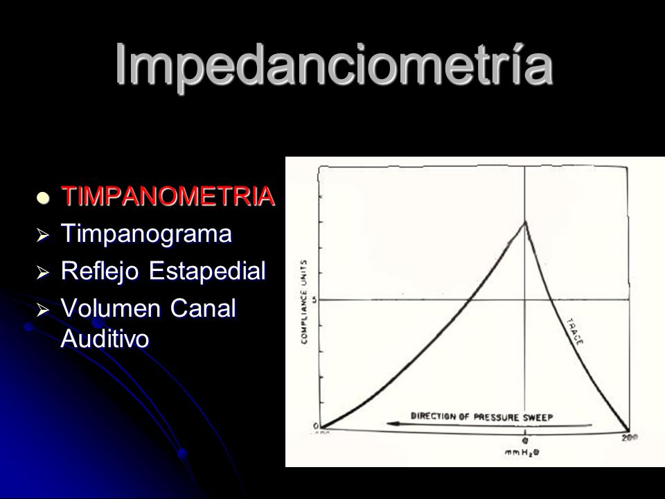 Impedanciometría TIMPANOMETRIA Timpanograma Reflejo Estapedial
