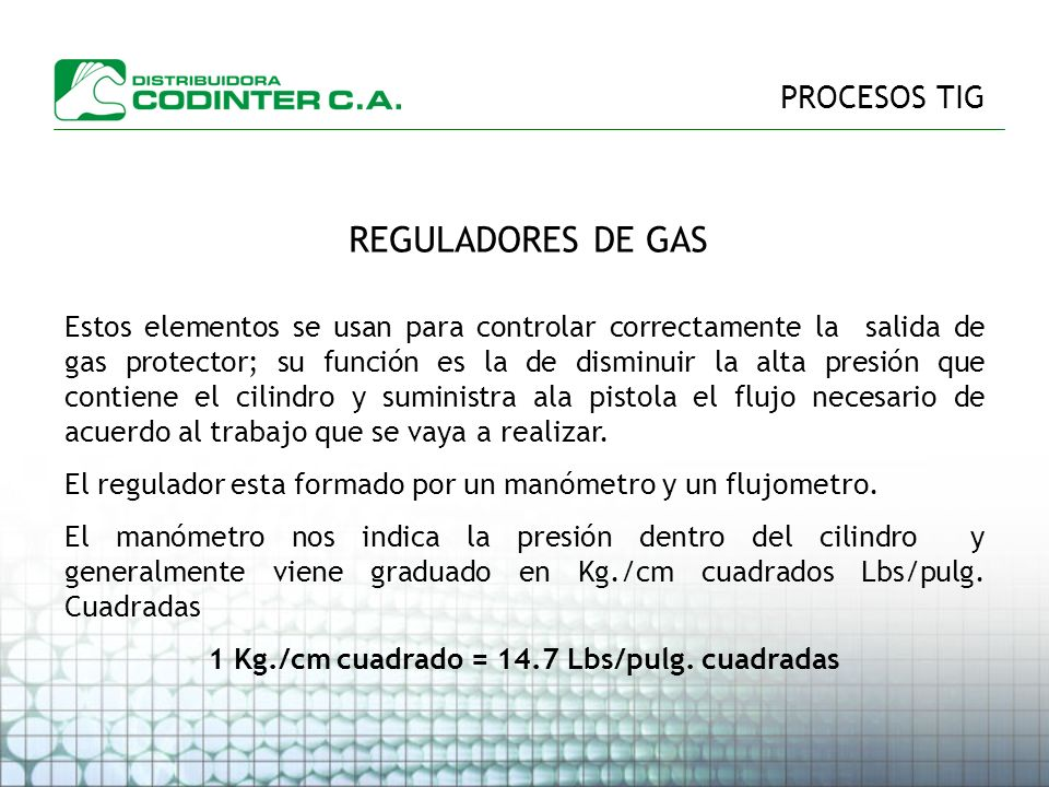 1 Kg./cm cuadrado = 14.7 Lbs/pulg. cuadradas