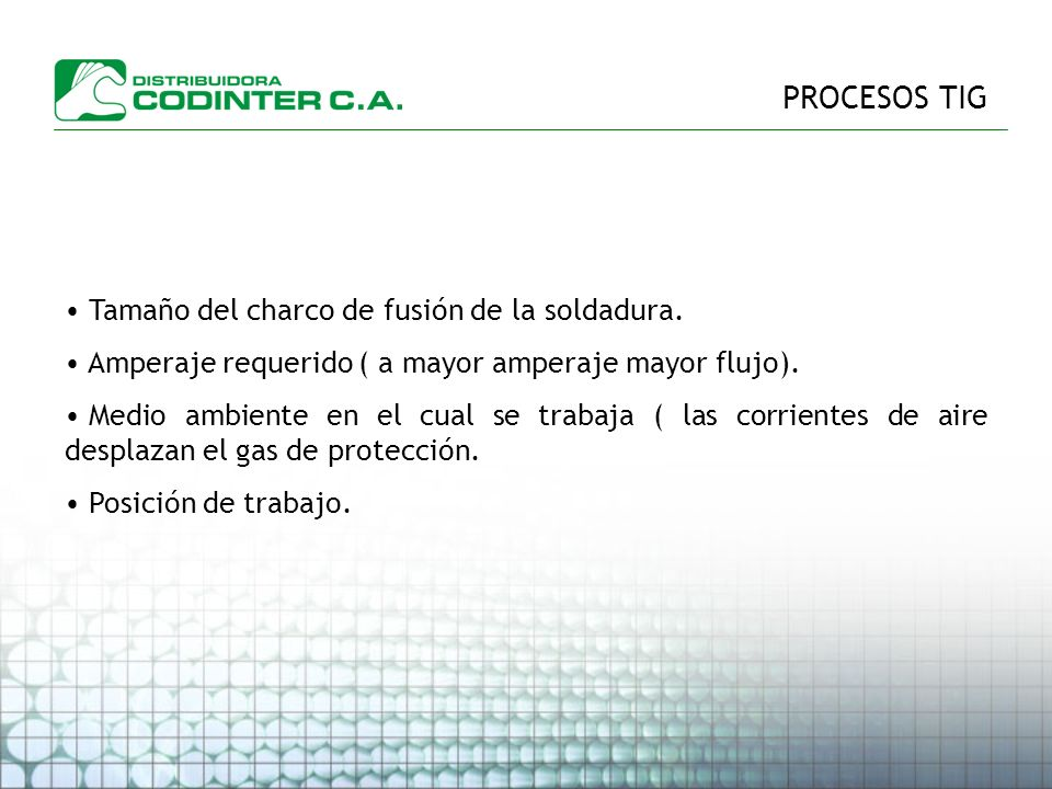 PROCESOS TIG Tamaño del charco de fusión de la soldadura.