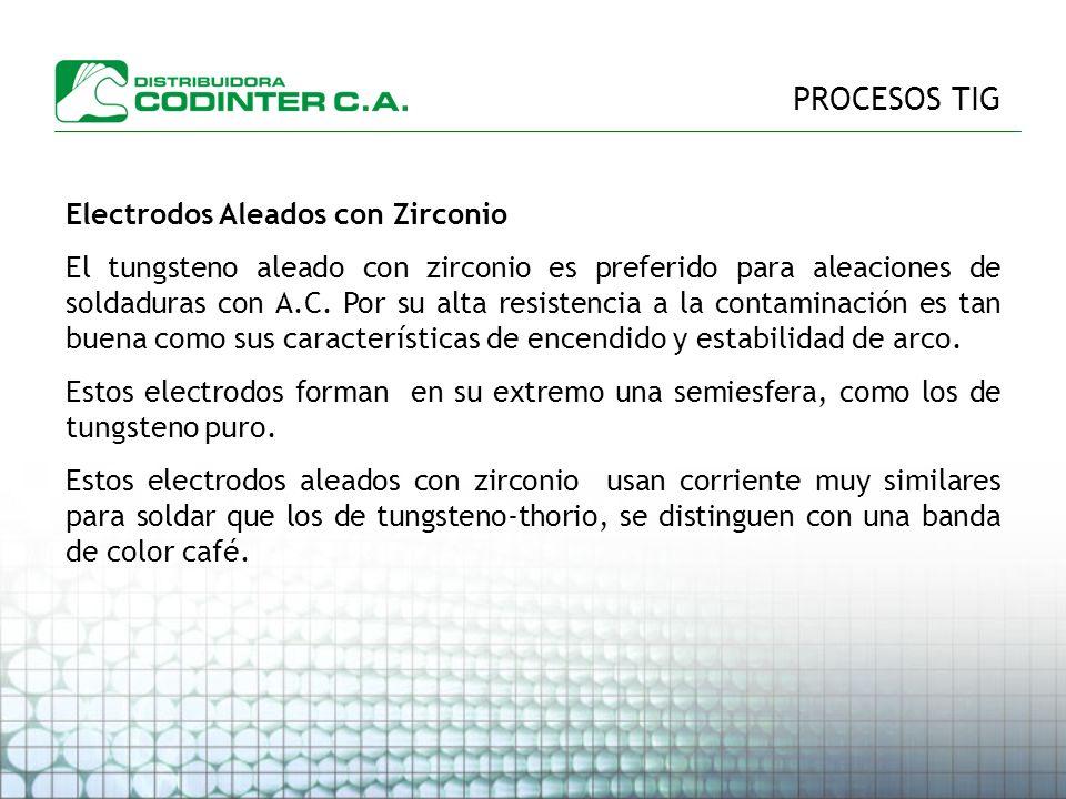 PROCESOS TIG Electrodos Aleados con Zirconio