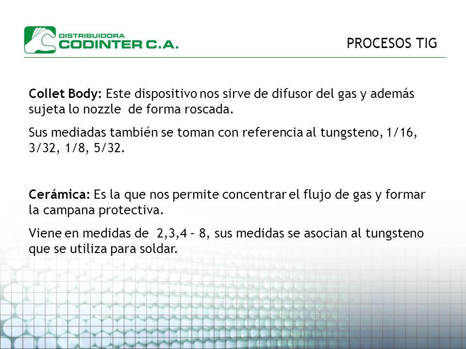 PROCESOS TIG Collet Body: Este dispositivo nos sirve de difusor del gas y además sujeta lo nozzle de forma roscada.