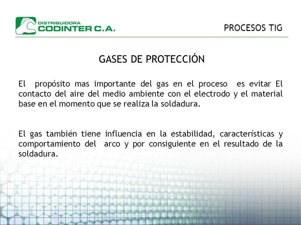 GASES DE PROTECCIÓN PROCESOS TIG