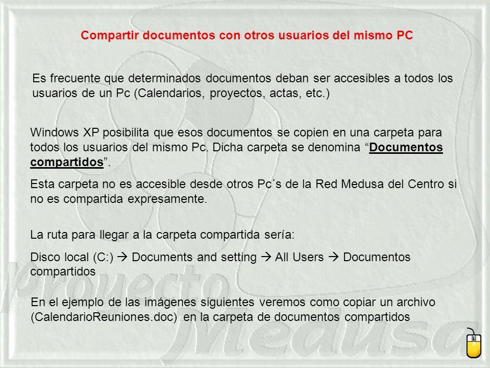 Compartir documentos con otros usuarios del mismo PC