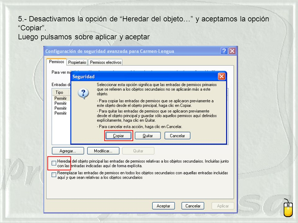 5.- Desactivamos la opción de Heredar del objeto… y aceptamos la opción Copiar .