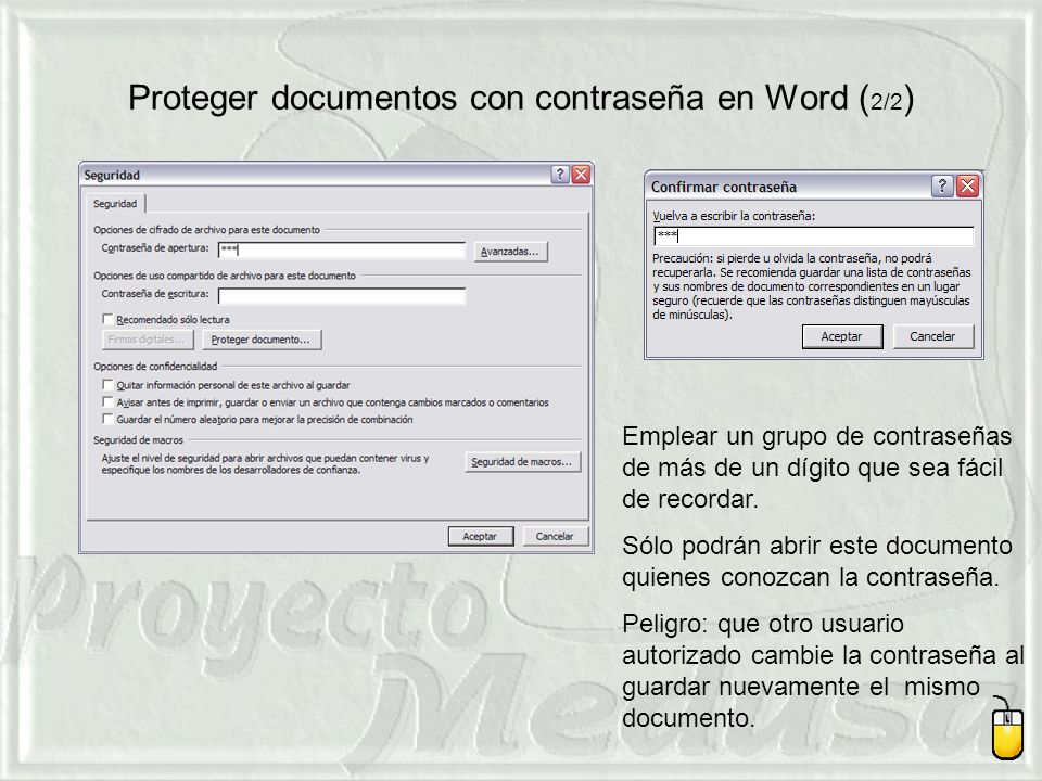 Proteger documentos con contraseña en Word (2/2)