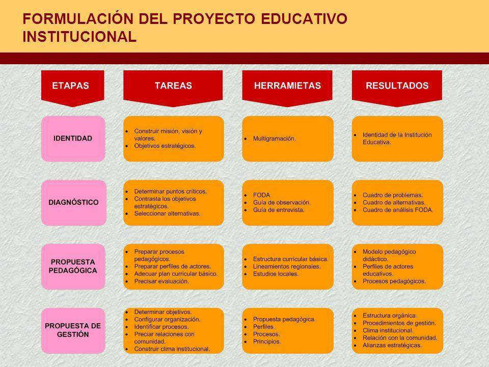 FORMULACIÓN DEL PROYECTO EDUCATIVO INSTITUCIONAL