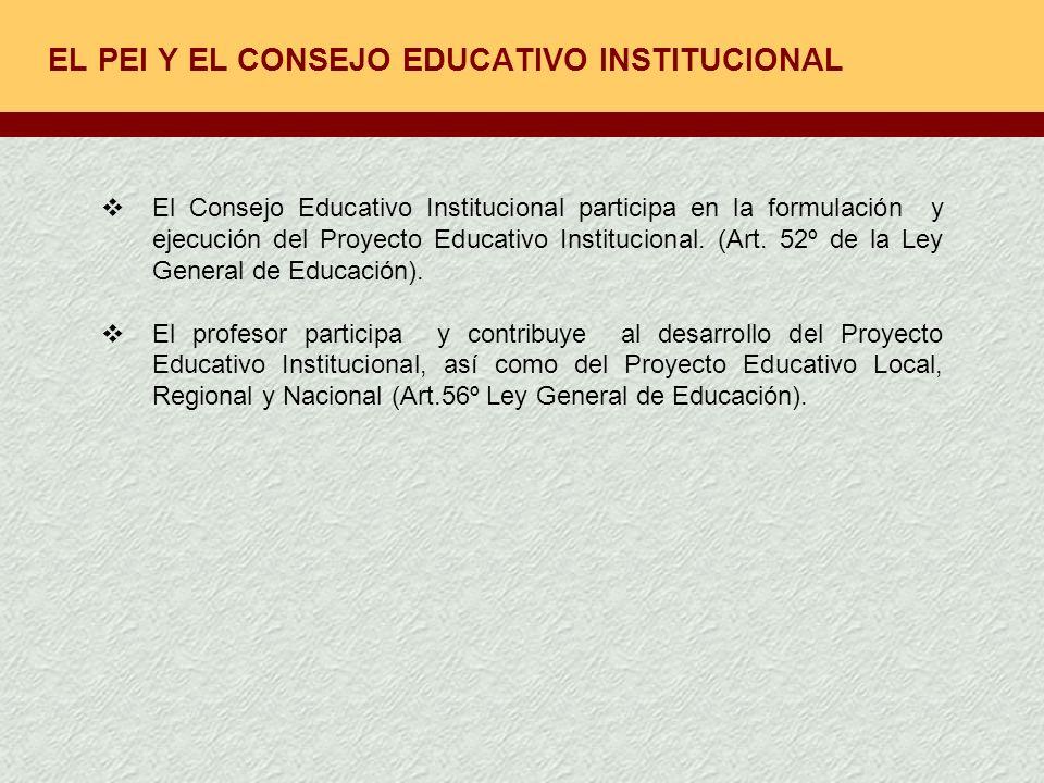 EL PEI Y EL CONSEJO EDUCATIVO INSTITUCIONAL
