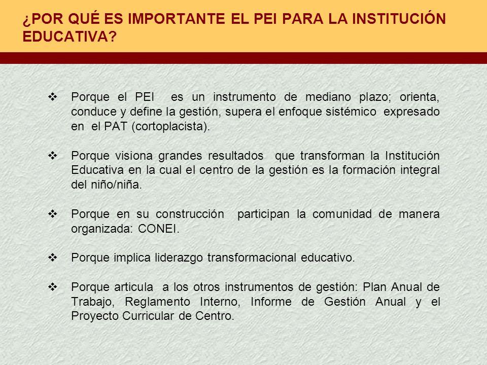 ¿POR QUÉ ES IMPORTANTE EL PEI PARA LA INSTITUCIÓN EDUCATIVA