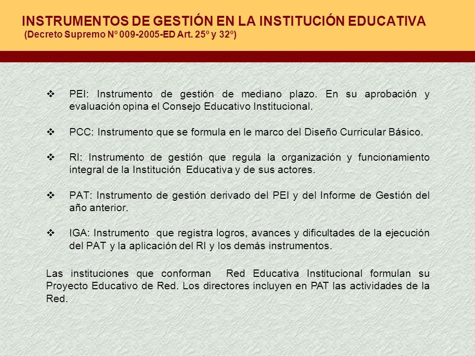 INSTRUMENTOS DE GESTIÓN EN LA INSTITUCIÓN EDUCATIVA (Decreto Supremo Nº 009-2005-ED Art. 25º y 32º)
