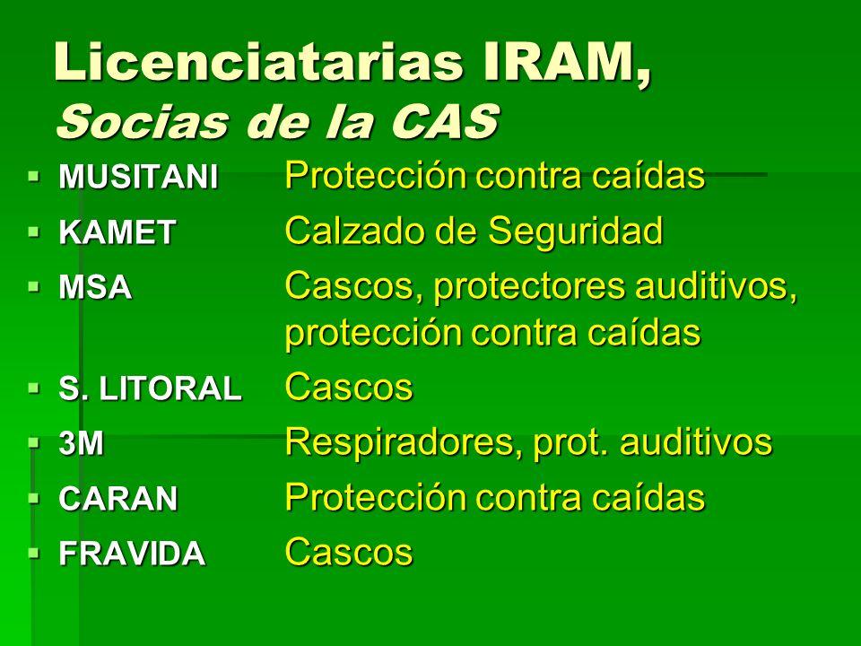 Licenciatarias IRAM, Socias de la CAS