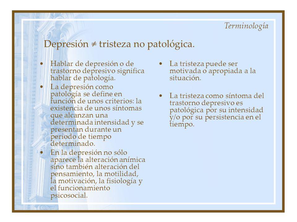 Depresión ≠ tristeza no patológica.