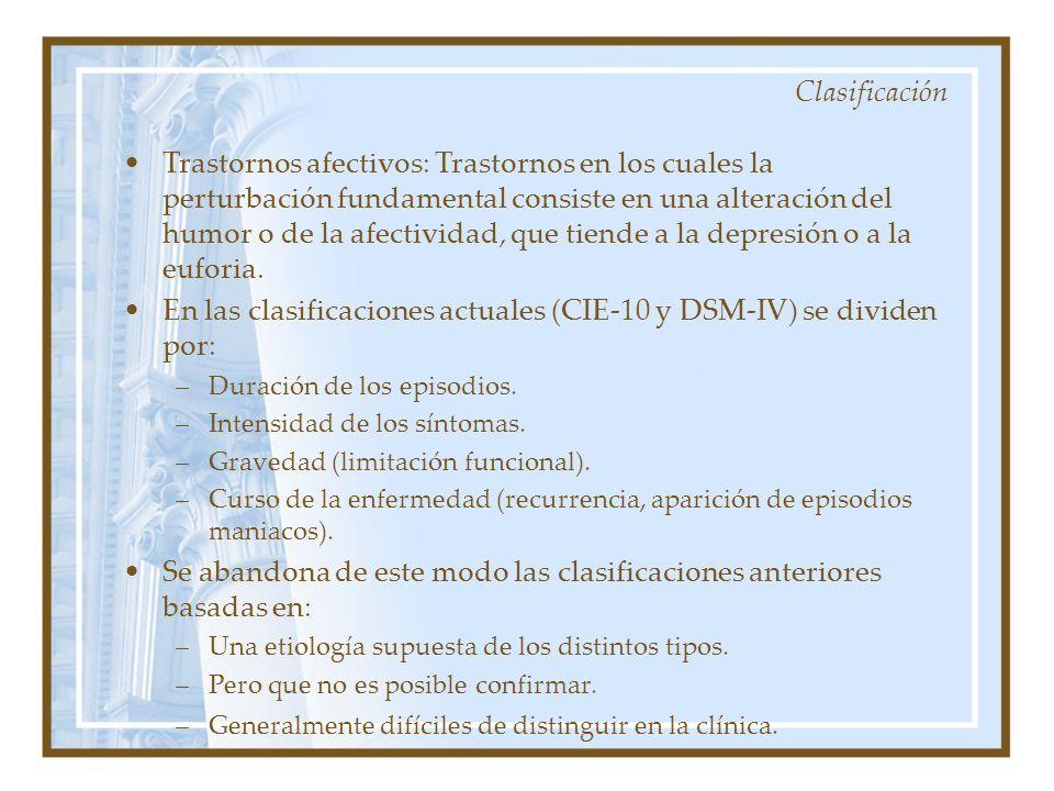 En las clasificaciones actuales (CIE-10 y DSM-IV) se dividen por: