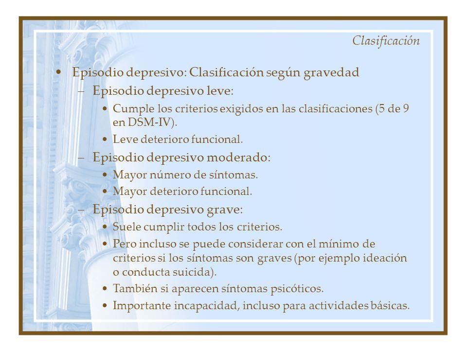 Episodio depresivo: Clasificación según gravedad