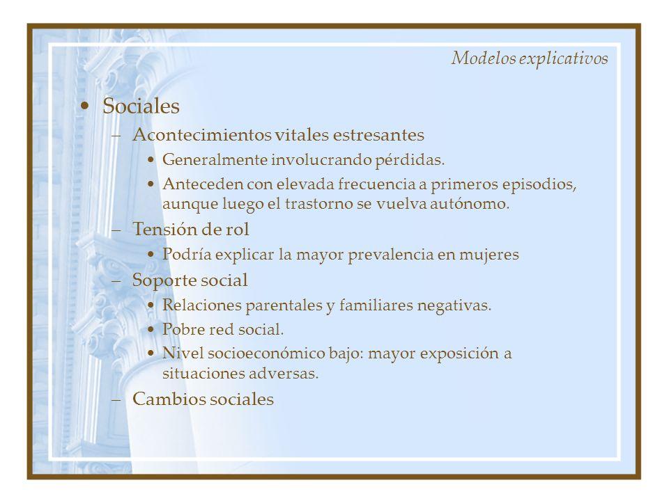 Sociales Modelos explicativos Acontecimientos vitales estresantes