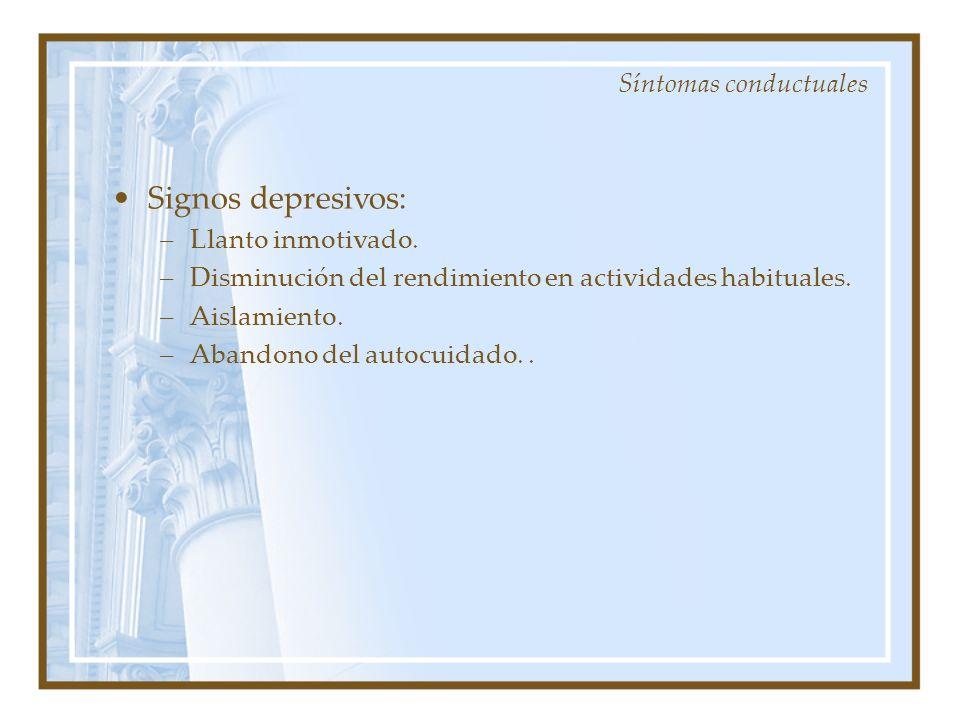 Signos depresivos: Síntomas conductuales Llanto inmotivado.