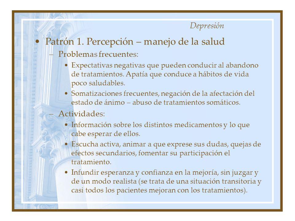 Patrón 1. Percepción – manejo de la salud