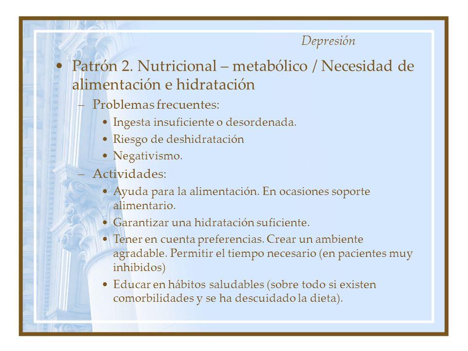 Depresión Patrón 2. Nutricional – metabólico / Necesidad de alimentación e hidratación. Problemas frecuentes: