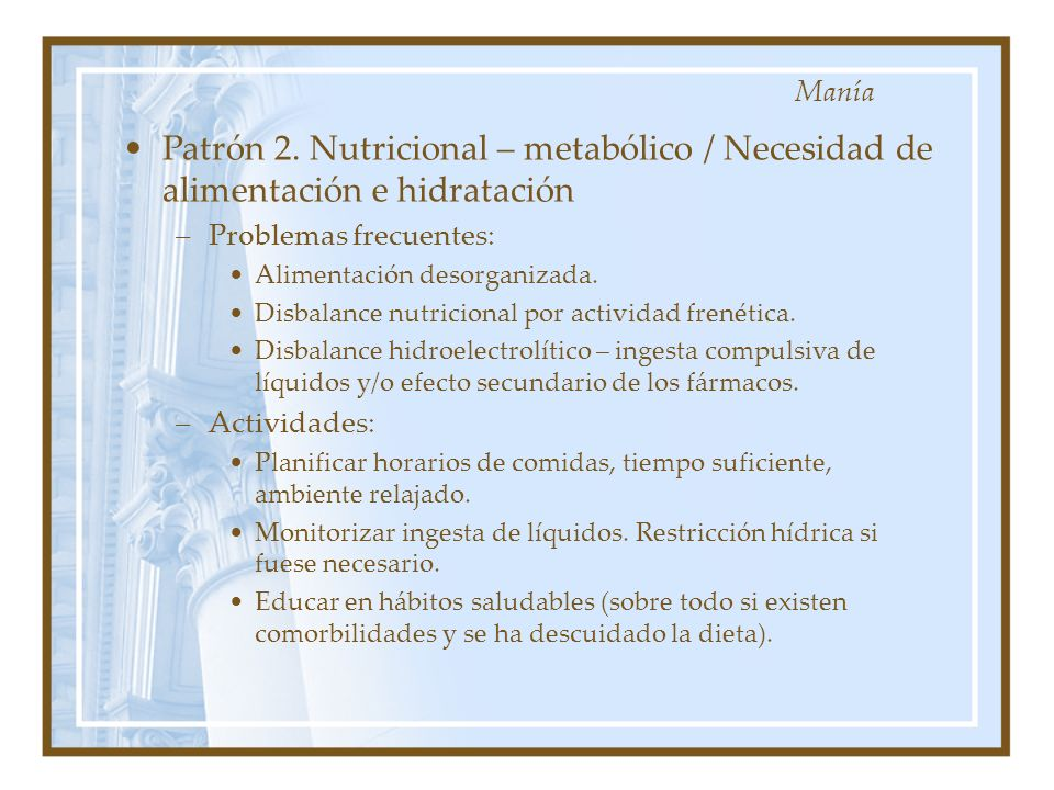 Manía Patrón 2. Nutricional – metabólico / Necesidad de alimentación e hidratación. Problemas frecuentes: