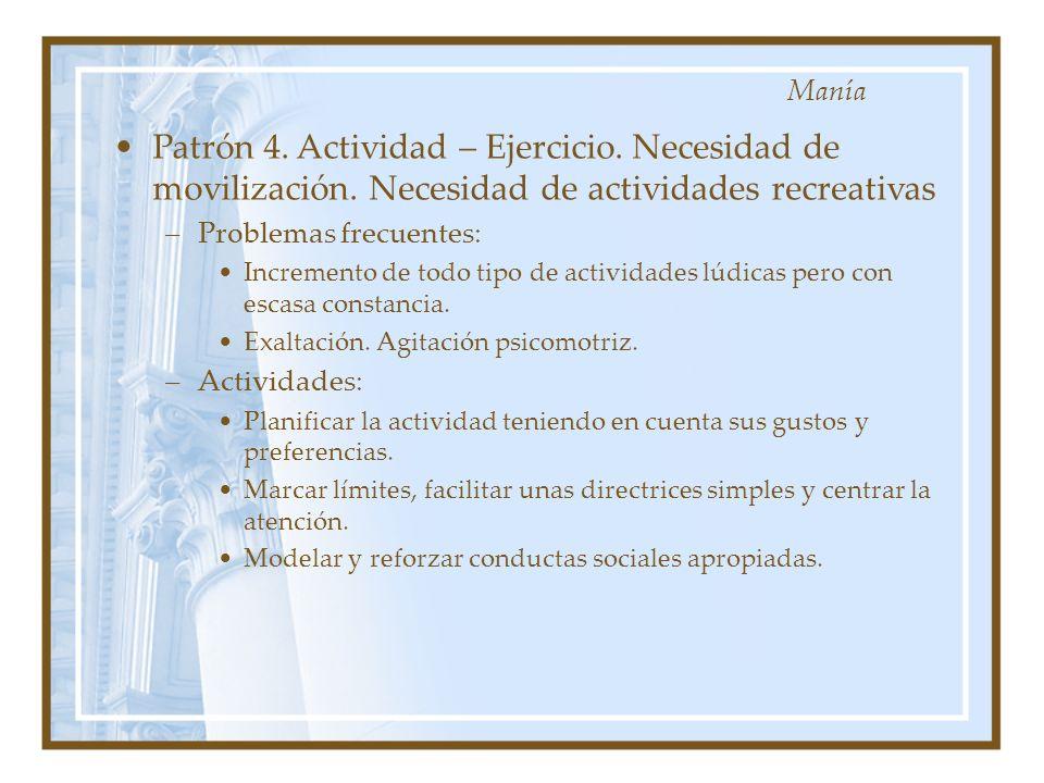 Manía Patrón 4. Actividad – Ejercicio. Necesidad de movilización. Necesidad de actividades recreativas.