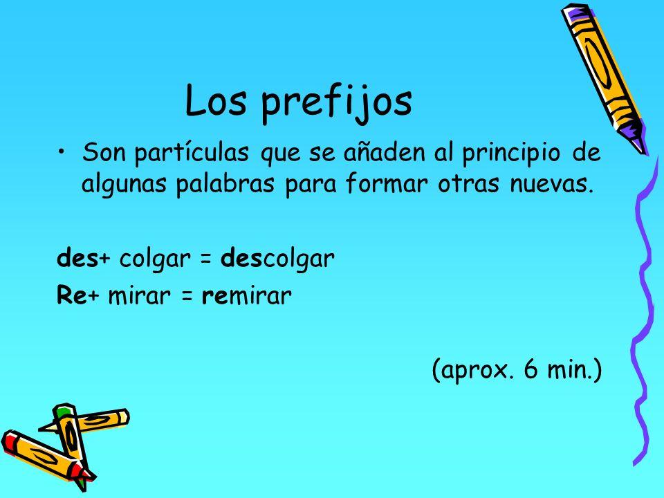 Los prefijos Son partículas que se añaden al principio de algunas palabras para formar otras nuevas.