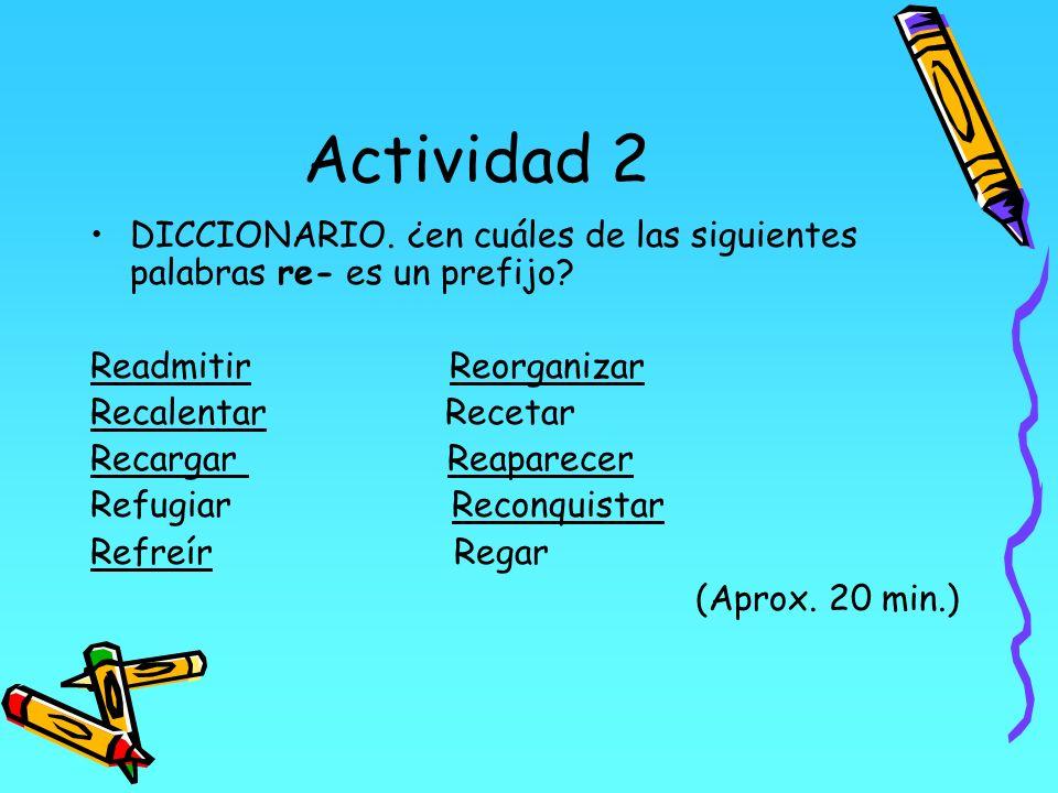 Actividad 2 DICCIONARIO. ¿en cuáles de las siguientes palabras re- es un prefijo Readmitir Reorganizar.