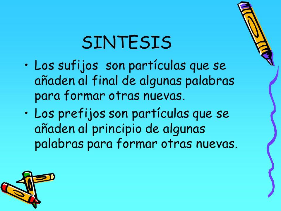 SINTESIS Los sufijos son partículas que se añaden al final de algunas palabras para formar otras nuevas.