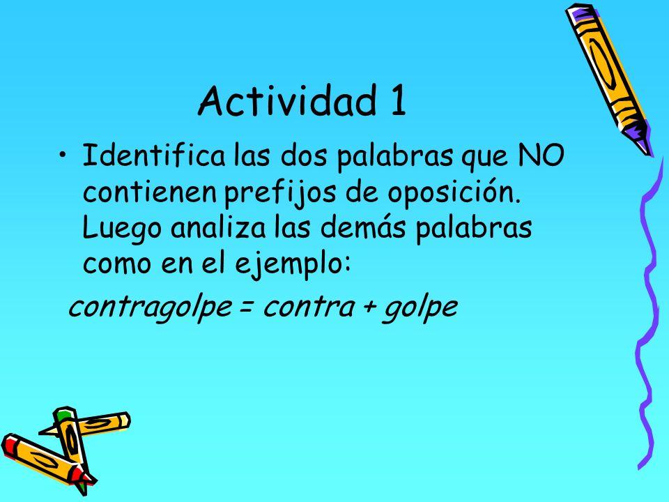 Actividad 1 Identifica las dos palabras que NO contienen prefijos de oposición. Luego analiza las demás palabras como en el ejemplo: