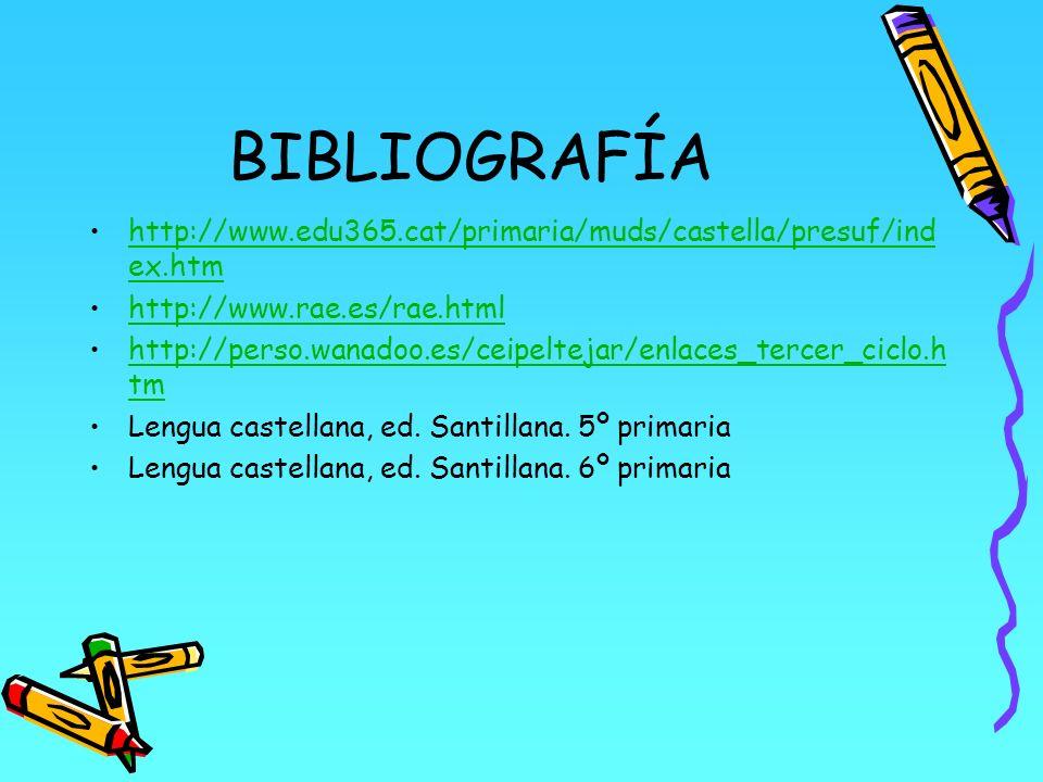 BIBLIOGRAFÍA http://www.edu365.cat/primaria/muds/castella/presuf/index.htm. http://www.rae.es/rae.html.
