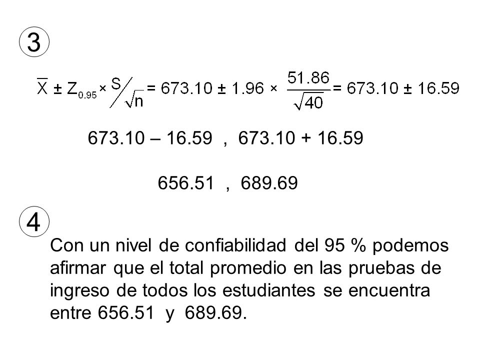 3 673.10 – 16.59 , 673.10 + 16.59. 656.51 , 689.69. 4. Con un nivel de confiabilidad del 95 % podemos.