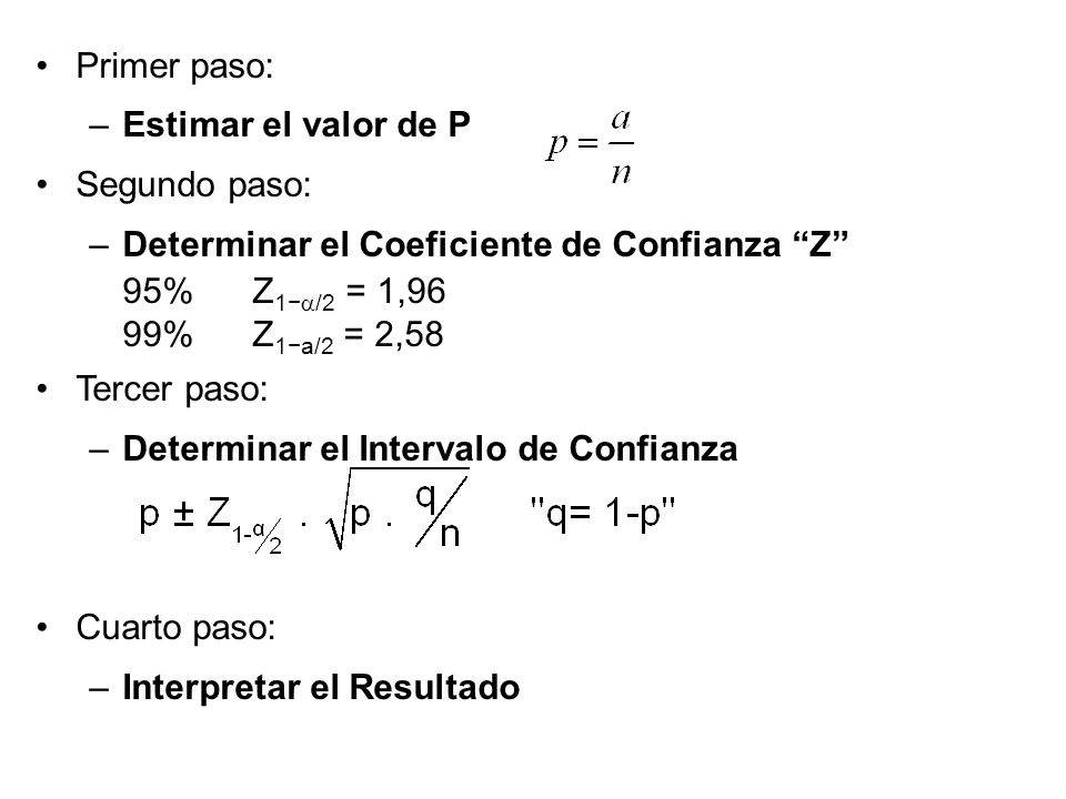 Primer paso: Estimar el valor de P. Segundo paso: Determinar el Coeficiente de Confianza Z 95% Z1−a/2 = 1,96.