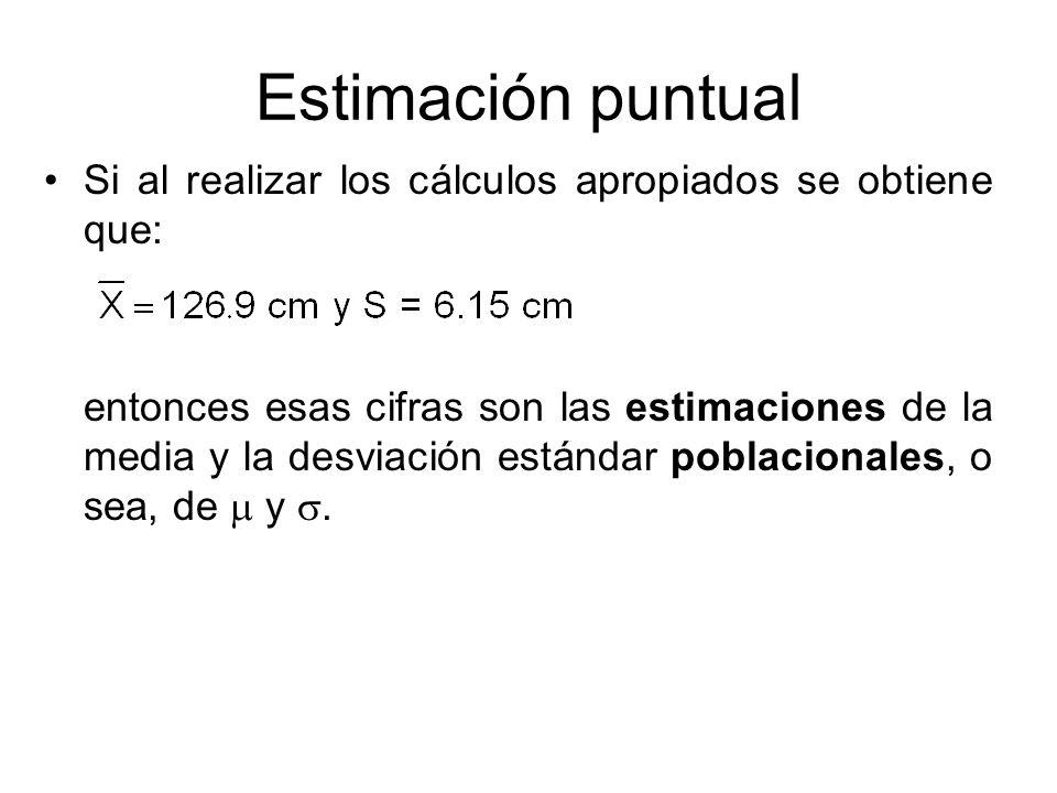 Estimación puntual Si al realizar los cálculos apropiados se obtiene que: