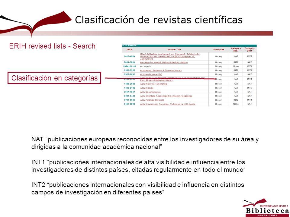 Clasificación en categorías