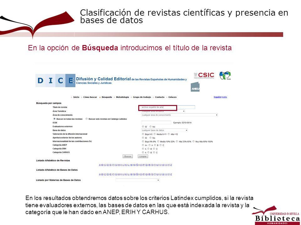 Clasificación de revistas científicas y presencia en bases de datos