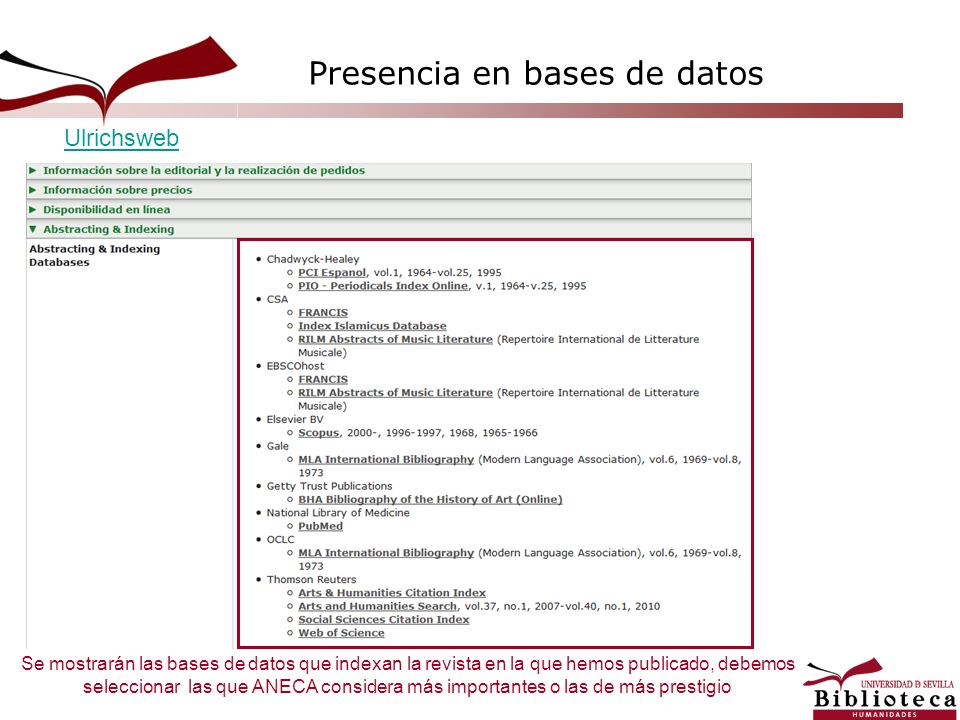 Presencia en bases de datos