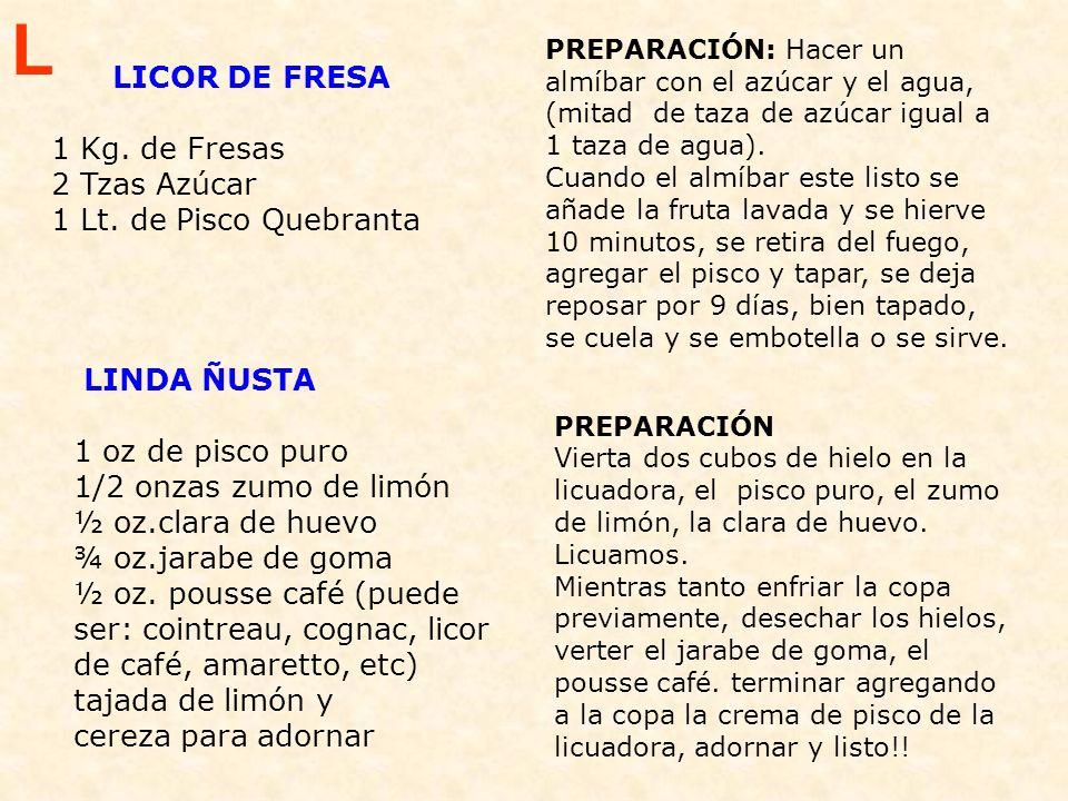 L LICOR DE FRESA. 1 Kg. de Fresas 2 Tzas Azúcar 1 Lt. de Pisco Quebranta.